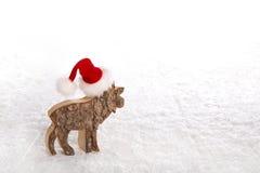 与红色圣诞老人帽子的一头驯鹿在雪白色木背景 免版税库存照片