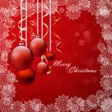 与红色圣诞节中看不中用的物品的背景,例证 免版税库存图片