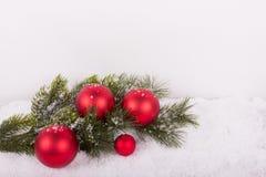 与红色圣诞节球的冷杉分支在雪 免版税图库摄影