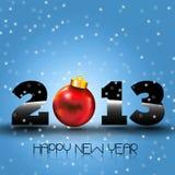 与红色圣诞节球的新年好2013年 库存图片