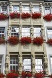 与红色大竺葵的Windows把雕象装箱 慕尼黑,德国 库存图片