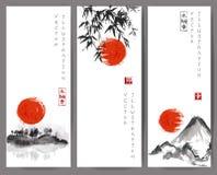 与红色太阳、竹子、山和海岛的横幅 皇族释放例证