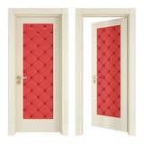 与红色室内装潢的二个经典门 免版税库存照片