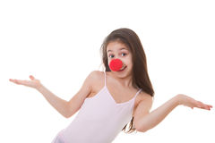 与红色小丑鼻子的孩子 免版税库存照片