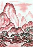 与红色山的风景,绘 免版税库存图片