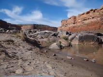 与红色岩石的科罗拉多河场面 免版税库存照片
