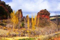 与红色岩石的风景 图库摄影