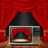 与红色帷幕和聚光灯的剧院阶段 抽象演员屏蔽场面戏剧 免版税图库摄影