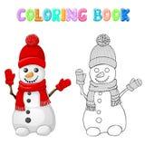 与红色帽子、在白色隔绝的围巾和手套的上色雪人 图库摄影