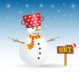 与红色帽子和木标志传染媒介的雪人 免版税图库摄影
