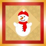 与红色帽子和围巾的雪人 库存照片