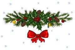 与红色弓、杉木锥体和霍莉的圣诞节装饰 库存例证