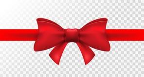 与红色弓的红色丝带 传染媒介假日礼物的被隔绝的弓装饰 卡片设计的礼物元素 库存例证