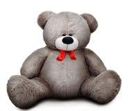 与红色弓的软的灰色哀伤的玩具熊 库存照片