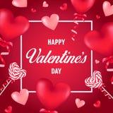 与红色心形的轻快优雅和棒棒糖的愉快的华伦泰` s天卡片 库存照片
