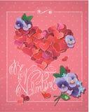 与红色心脏五彩纸屑的情人节卡片在大心脏形状 免版税库存图片