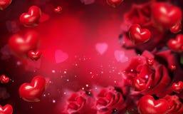 与红色心脏和玫瑰的华伦泰背景 图库摄影