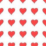 与红色心脏标志的无缝的样式 图库摄影