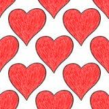 与红色心脏标志的无缝的样式 库存照片