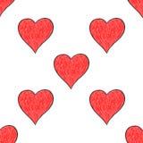 与红色心脏标志的无缝的样式 库存图片
