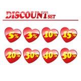 与红色心脏的五颜六色的折扣元素 免版税库存照片