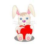 与红色心脏的兔宝宝 免版税库存图片