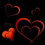 与红色心脏的华伦泰卡片 库存照片