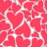 与红色心脏的墙纸 库存照片
