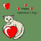 与红色心脏的小猫 库存照片