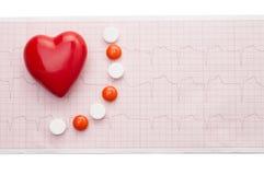 与红色心脏的心电图 免版税图库摄影