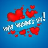 与红色心脏的愉快的情人节卡片 免版税库存图片