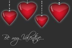 与红色心脏的愉快的情人节背景 库存图片