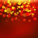 与红色心脏的抽象红色背景 皇族释放例证
