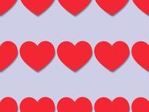 与红色心脏的无缝的纹理 免版税库存照片