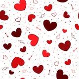 与红色心脏的无缝的背景 库存照片