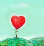 与红色心脏的树 库存图片