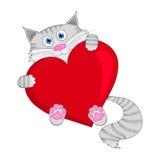 与红色心脏的灰色猫-导航例证 向量例证