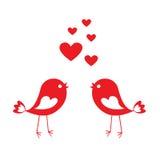 与红色心脏的爱逗人喜爱的鸟 库存例证