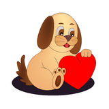 与红色心脏的狗 免版税图库摄影