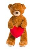 与红色心脏的玩具熊 库存图片