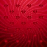 与红色心脏的红色抽象背景 库存照片