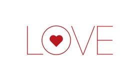 与红色心脏的词爱 免版税库存照片