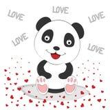 与红色心脏的逗人喜爱的熊猫 2007个看板卡招呼的新年好 免版税库存图片