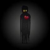 与红色心脏的鬼魂在黑暗中 向量 免版税库存照片