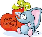 与红色心脏的滑稽的大象 免版税库存照片