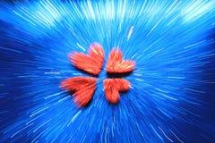 与红色心脏背景-颜色和屏幕保护程序抽象派群的蓝色  免版税图库摄影