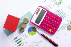 与红色房子和硬币金钱的上面抵押贷款概念和桃红色计算器和红色笔背景 库存图片