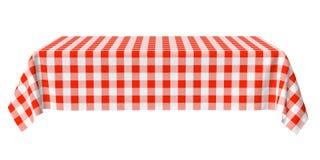 与红色方格的样式的长方形水平的桌布 免版税库存图片