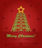 与红色星形的圣诞树 免版税库存图片