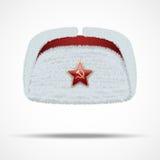 与红色星的俄国白色冬天裘皮帽ushanka 库存图片